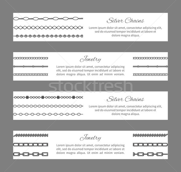Silver Chains Jewelry Cards Vector Illustration Stock photo © robuart