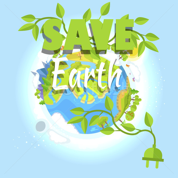 Save Earth Logo Design with Planet, Electric Plug Stock photo © robuart
