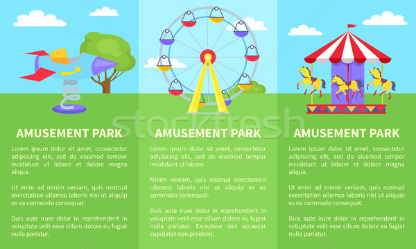 Amusement Park Set of Posters with Ferris Wheel Stock photo © robuart
