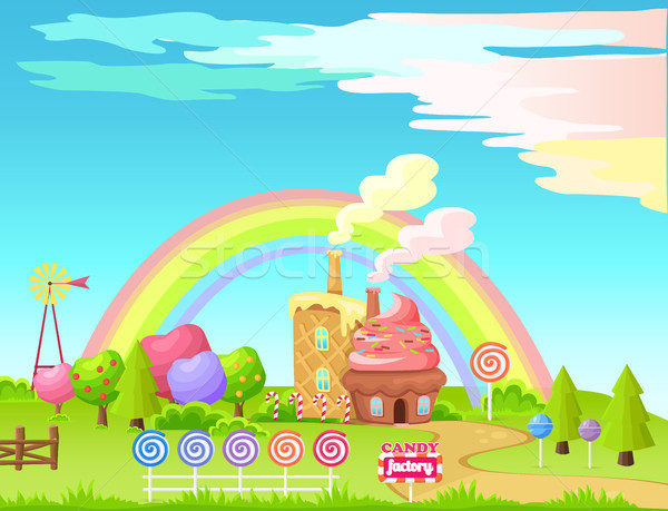 Candy Factory Fairy Cartoon Flat Vector Concept Stock photo © robuart