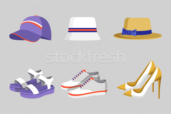 Hat and Shoes Collection, Vector Illustration Stock photo © robuart