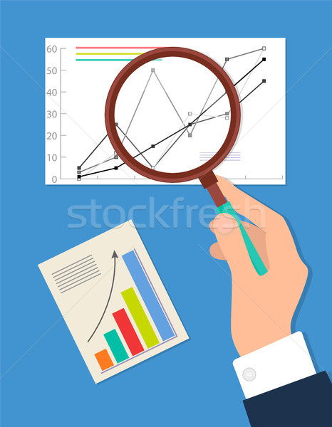 Zoeken procede analytics geïsoleerd Blauw zakenman Stockfoto © robuart
