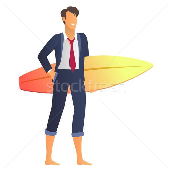 Boldog üzletember öltöny csillámlás szörfdeszka sikeres Stock fotó © robuart