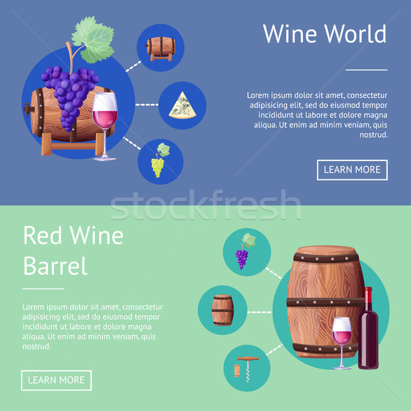 Wine World and Wooden Barrels Internet Pages Set Stock photo © robuart