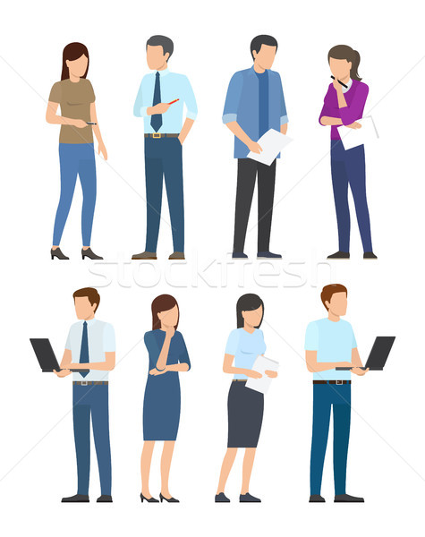 Startup Poster with Business People Men and Women Stock photo © robuart