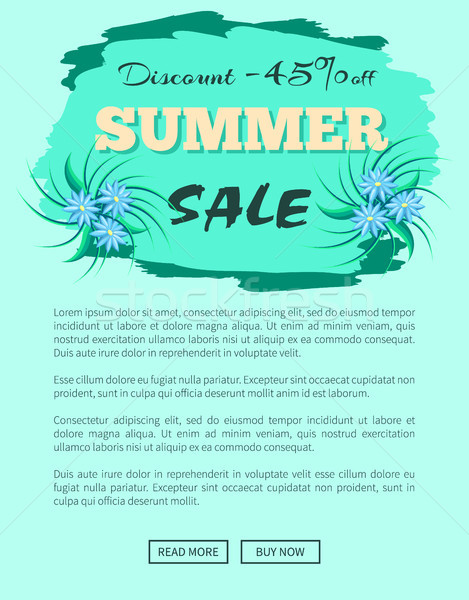 Discount 45 Summer Sale Promotion Emblem Poster Stock photo © robuart