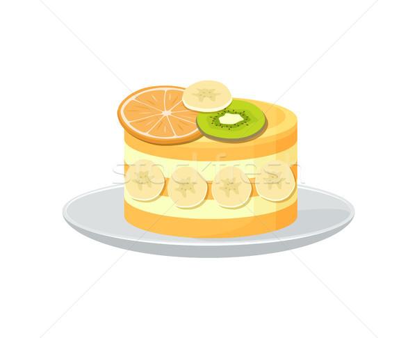 美しい フルーツケーキ ポスター 新鮮な オレンジ キウイ ストックフォト © robuart