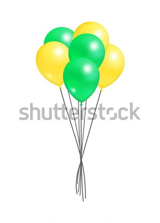 Yellow and Green Bunch of Helium Color Air Balloon Stock photo © robuart