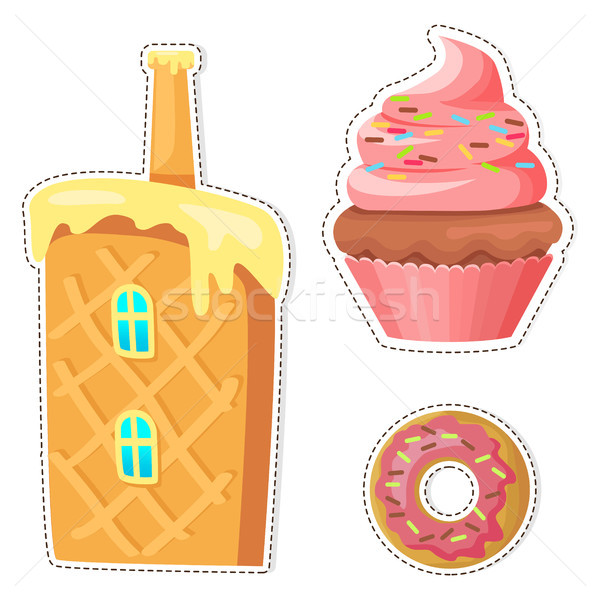Cartoon Sweets Vector Stickers or Icons Set Stock photo © robuart