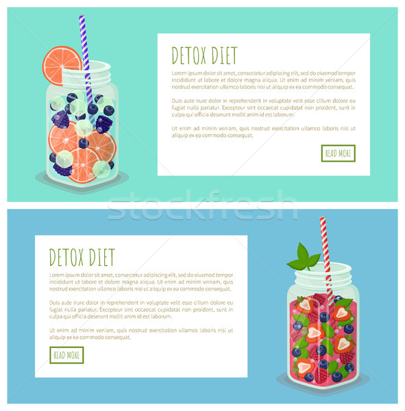 Detox Diet Internet Pages Set Vector Illustration Stock photo © robuart