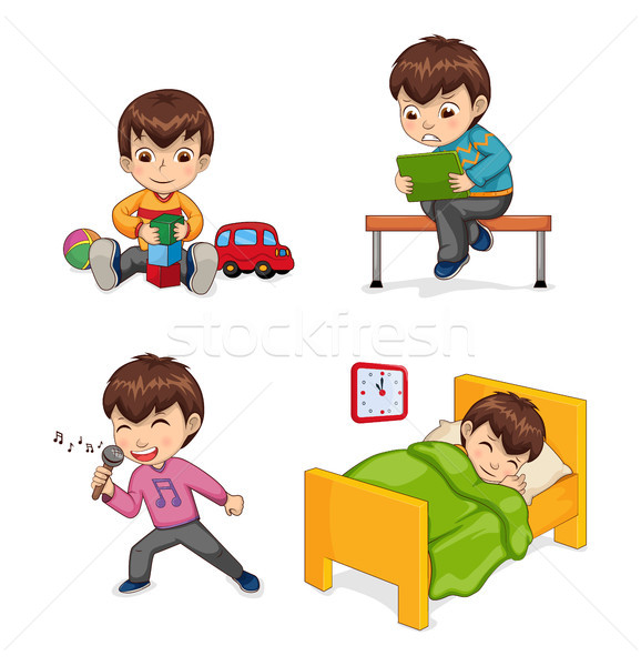 Boy Musician and Hobby Set Vector Illustration Stock photo © robuart