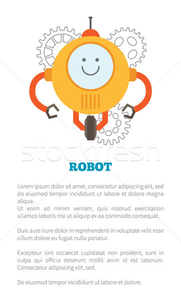 Robot Poster and Text Sample Vector Illustration Stock photo © robuart