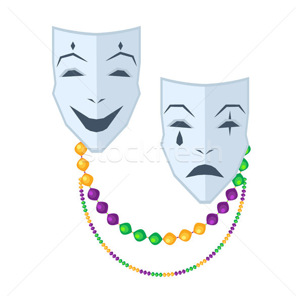 Theatrical Comedy and Tragedy Masks Flat Vector Stock photo © robuart