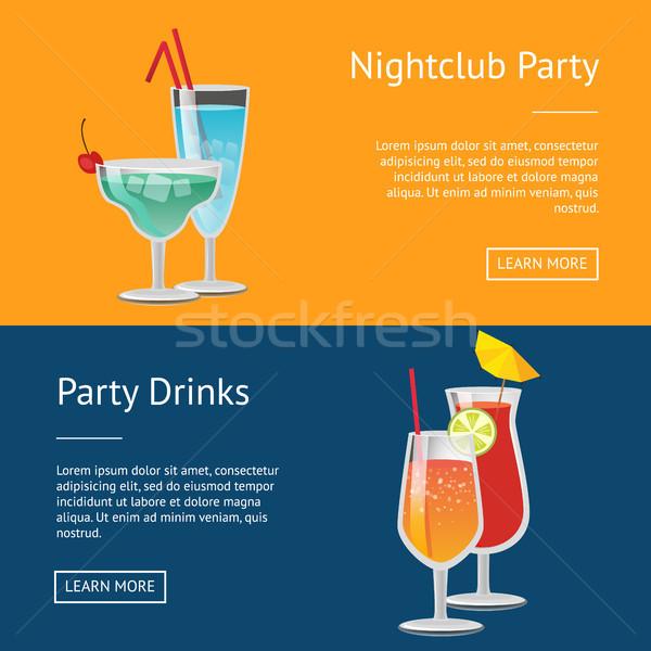 Nightclub Party Drinks Web Posters Set Push Button Stock photo © robuart
