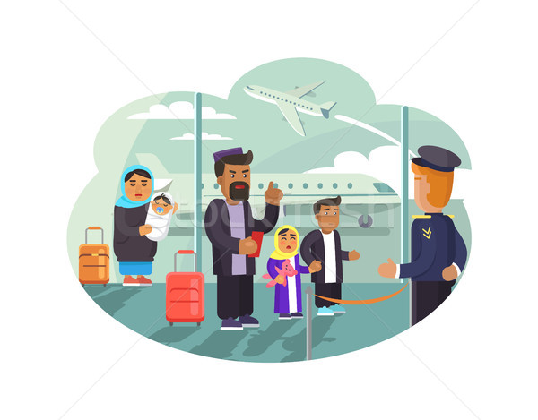 Refugees Wait for Flight to Move in Other Country Stock photo © robuart