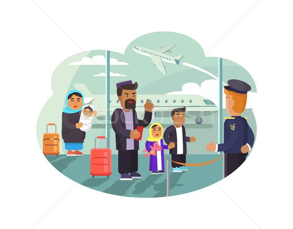 Vlucht verplaatsen ander land arabisch Stockfoto © robuart