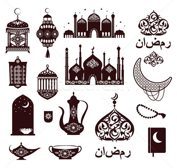 Ramadan festival symbolen zwarte kleuren retro Stockfoto © robuart