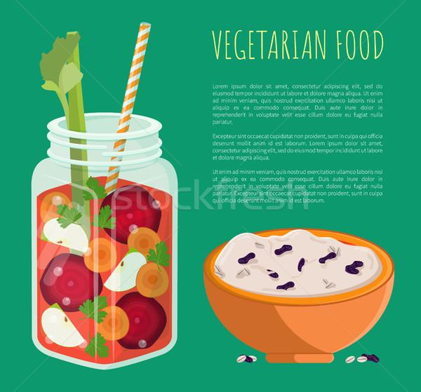Vegetáriánus étel detoxikáló frissítő egészséges koktél szalag Stock fotó © robuart