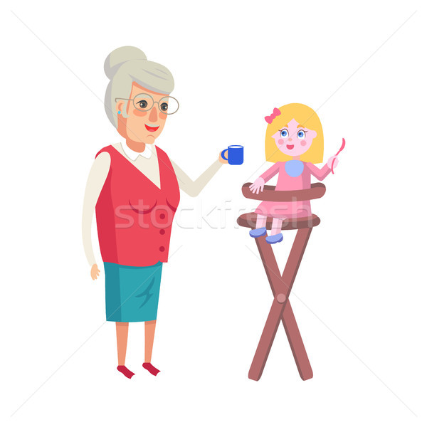 Grandmother Feeding Granddaughter in High-Chair Stock photo © robuart