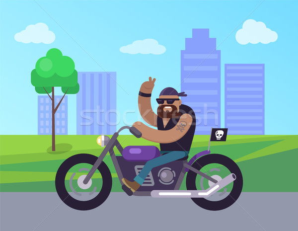 Motorcycle Man Riding in City Vector Illustration Stock photo © robuart