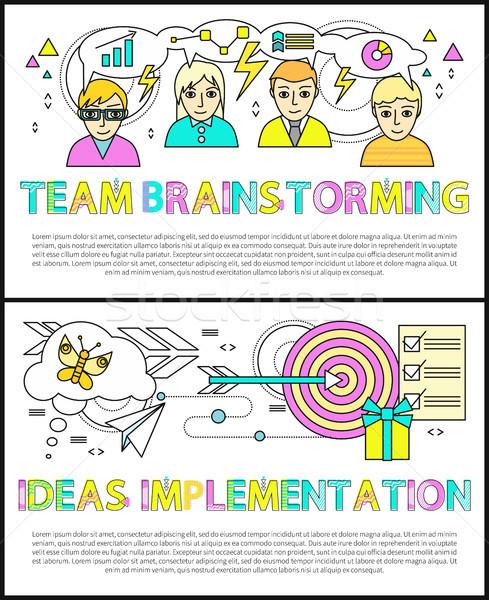 Equipe pôsteres conjunto idéias implementação Foto stock © robuart