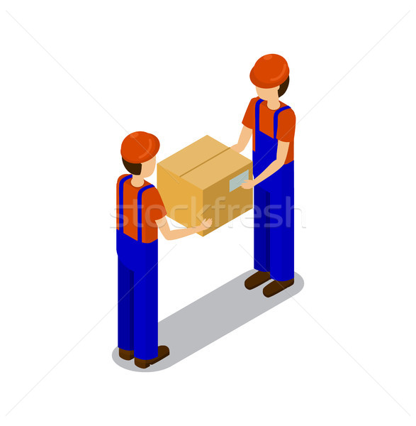 Plant Workers Transporting Products in Square Box Stock photo © robuart
