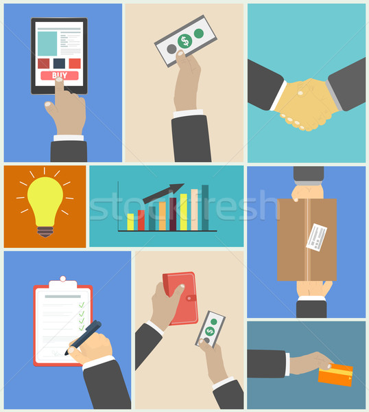Set of business hands action concepts Stock photo © robuart