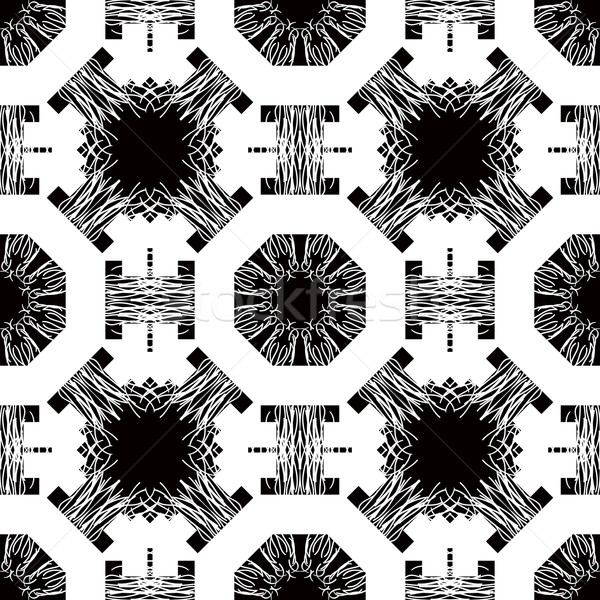 Seamless pattern with white tracery on a black Stock photo © robuart