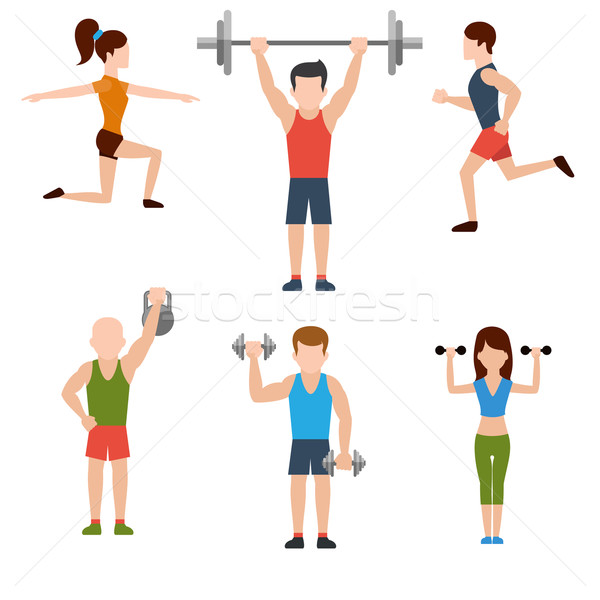 Exercises with weights and warm-up icons Stock photo © robuart