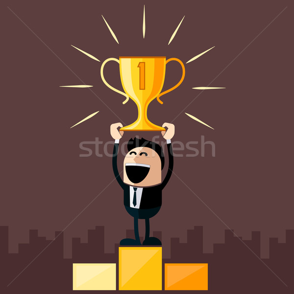 Businessman stands on pedestal holds cup Stock photo © robuart