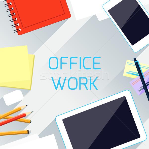 Ofis işleri işyeri organizasyon kavram üst görmek Stok fotoğraf © robuart