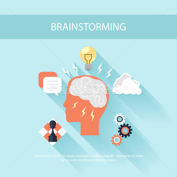 Brainstorm process concept in flat design Stock photo © robuart