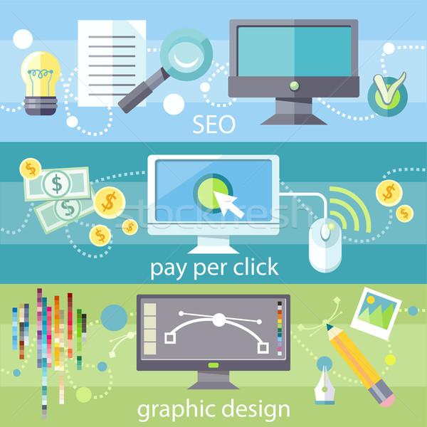 Seo illetmény által kattintás grafikai tervezés társasági Stock fotó © robuart