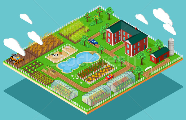 Isometric 3d Icon Flat Farm Agriculture Stock photo © robuart