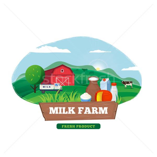 Orgânico leite fazenda teia bandeira vetor Foto stock © robuart