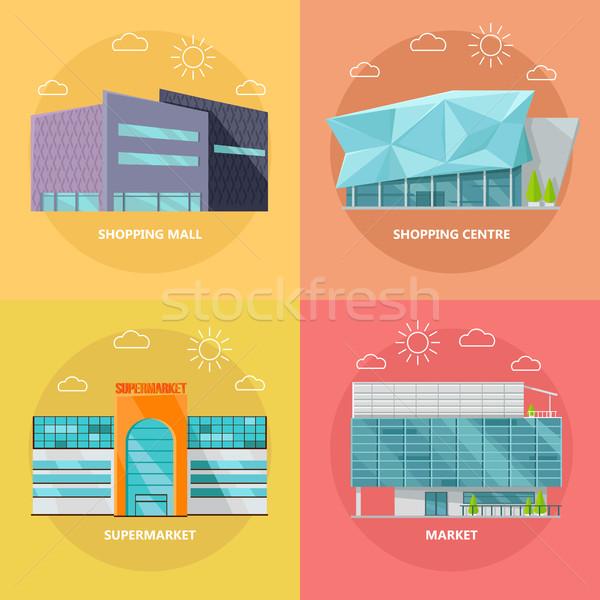Bevásárlóközpont ikon gyűjtemény terv áruház ikon szett modern Stock fotó © robuart