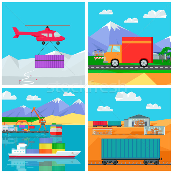 Worldwide Warehouse. Logistics containers shipping Stock photo © robuart