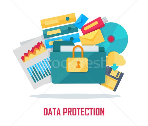 データ保護 バナー 青 フォルダ ロック アイコン ストックフォト © robuart