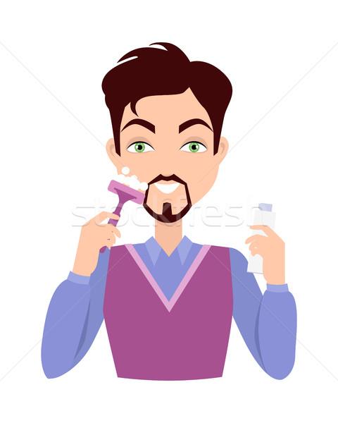 Man Face Wash. Washing, Shaving, Moisturizing Stock photo © robuart