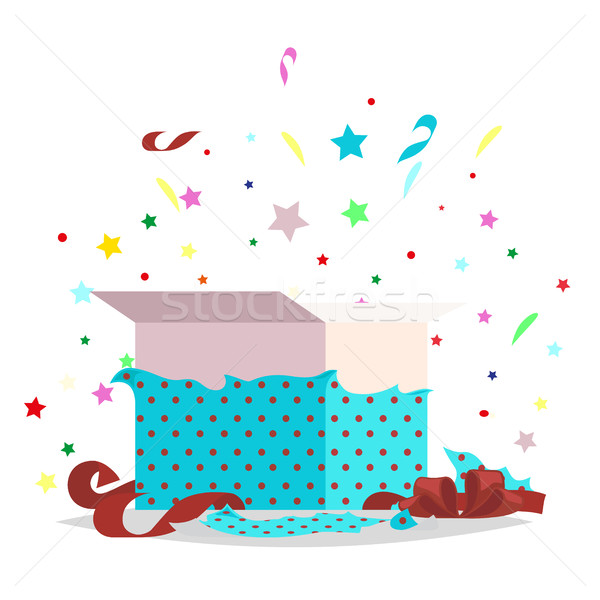 Open Blue Gift Box Illustration Holiday Collection Stock photo © robuart