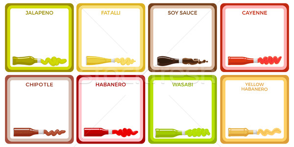 Sauce Bottle Collection in Square White Icons Stock photo © robuart