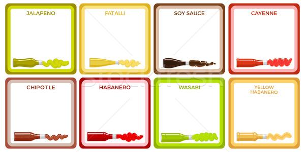 Sauce bouteille ensemble carré blanche icônes Photo stock © robuart