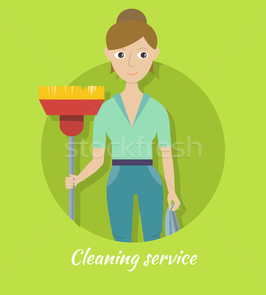 Member of Cleaning Service with Broom and Duster Stock photo © robuart