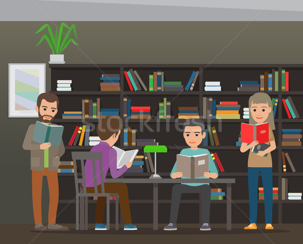 Students Reading Textbook in Library Flat Vector  Stock photo © robuart