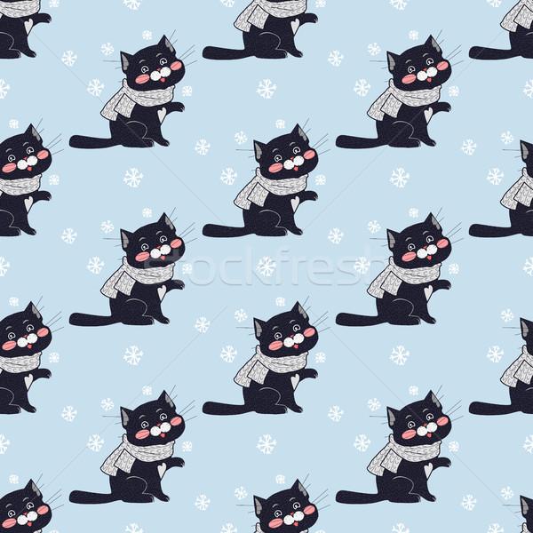 Foto stock: Engraçado · gatos · vetor · projeto · gato · preto