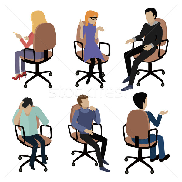 Set of People Sitting. Man and Woman at Work Stock photo © robuart