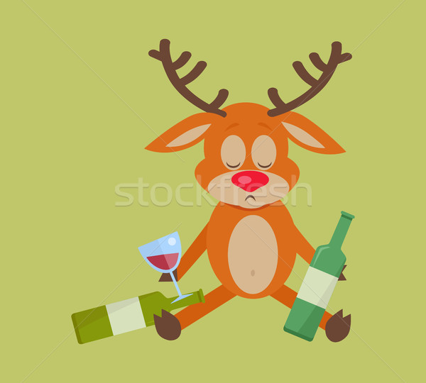 Deer with Bottle of Wine Isolated on Green. Stock photo © robuart