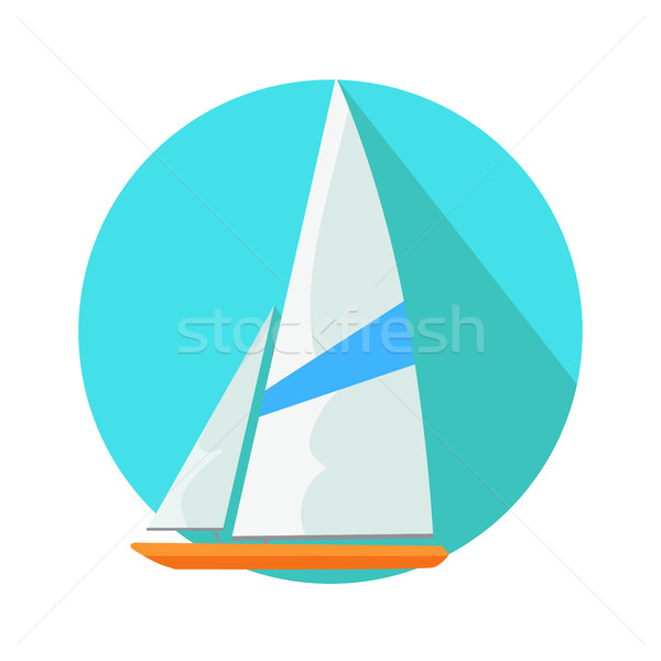 Boat Sign Symbol in Round Web Button. Yacht at Sea Stock photo © robuart