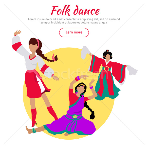Folk Dance Conceptual Flat Style Vector Web Banner Stock photo © robuart