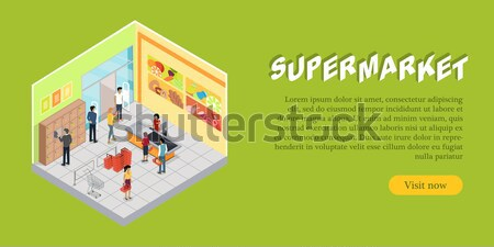 Supermercado departamento web banner vector peces Foto stock © robuart